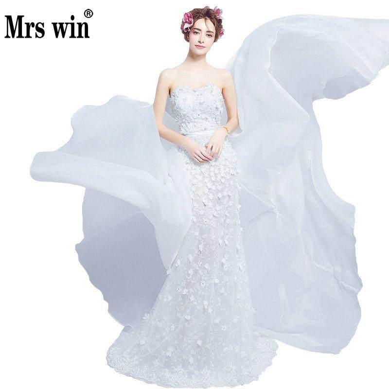 Wedding Dress2017 Hot Sale The Bride Sweetheart Luxury Detachable Train Elegant Flower Floor Length Lace