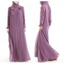 Bow fleur Abaya Robe femmes musulmane Hijab Robe dentelle dubaï élégant dentelle à manches longues mode grand Plus modeste robes tunique Juba