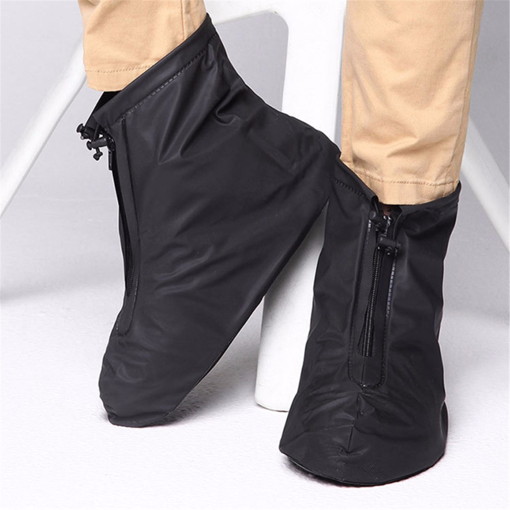 Rainproof Waterproof Reusable Rain Shoes Cover Boots Flat Overshoes Covers Men&Womens Slip Resistant Shoe Cover Black/ White