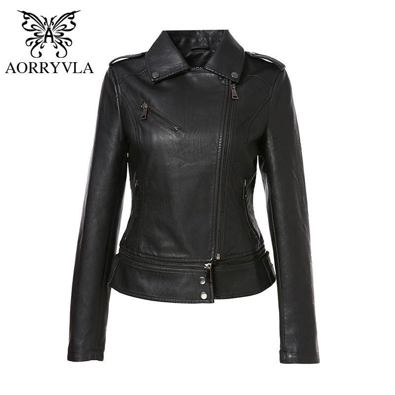 AORRYVLA Hot PU Coat Women Spring Black Fashion Motorcycle Jacket Turn-Down Collar Faux   Leather   PU Jacket Gothic   Leather   Coats