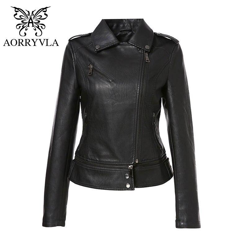 AORRYVLA   Leather   Jacket For Women Spring 2020 Black PU   Leather   Jacket Motorcycle Slim Biker Jacket Fashion   leather   coats ladies