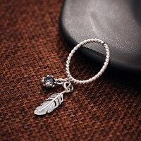 925 ayar gümüş yüzük, bayanlar retro, eski bükülmüş hatları, edebi rüzgar halkaları