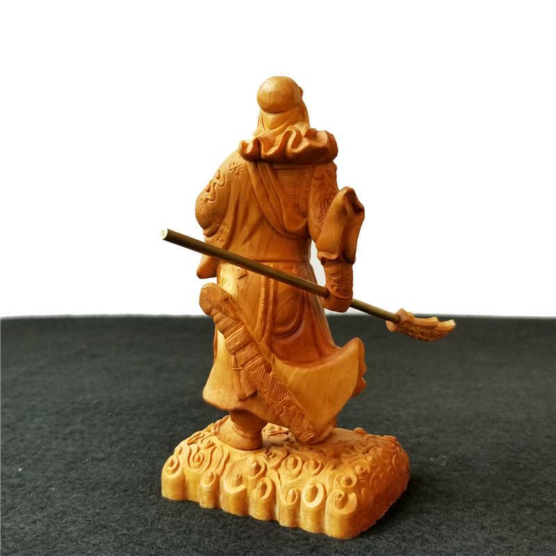 13 см деревянные Люди Скульптура Dynasty Warriors Гуань Ю медный нож Настенная Декорация голова оленя китайская фигурка гонг