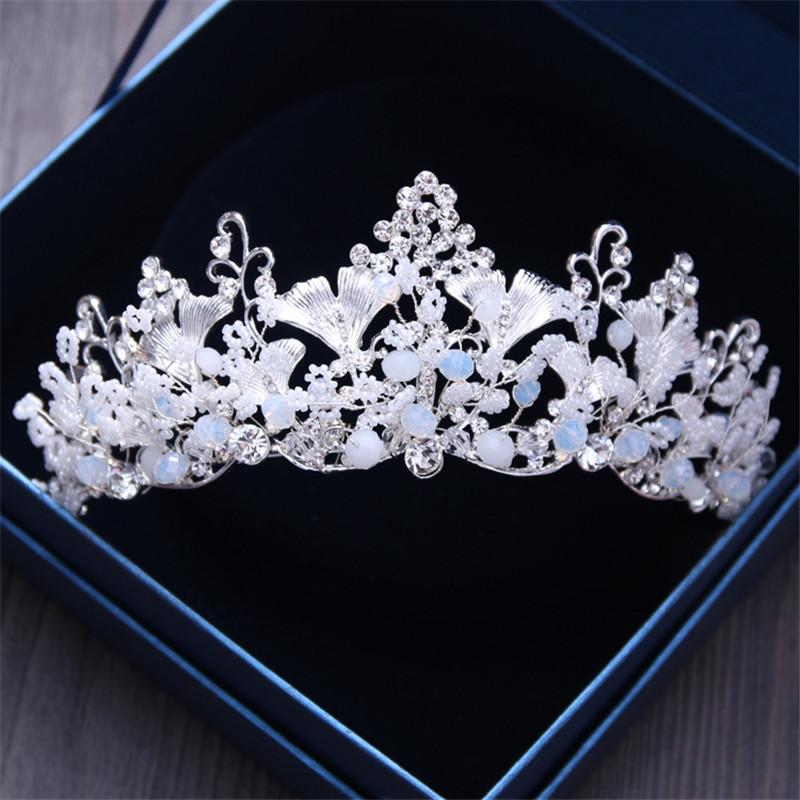 Silver Leaves and Clear Crystal Bridal Tiara Crown Wedding Bride Hair Jewelry Accessories For Girl/Women Prom Hair Ornaments