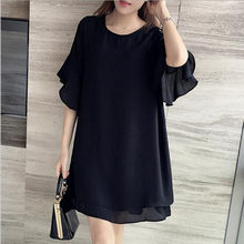 2018 5XL 4XL 3XL Summer Clothing Women Fashion Loose Cute Round neck Butterfly Sleeve Black Chiffon Plus size Tops Dress QC810(China)