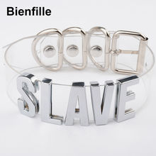 Custom Customized BDSM Bondage Harness Silver Slave Name Letter Choker 35mm Gold Tall Alpabet Clear PVC Vinyl Plain Basic Choker