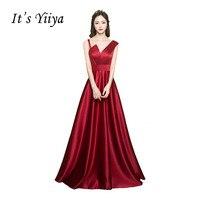 It S YiiYa 2017 New Spaghetti Strap Taffeta Party Slessveless Prom Dresses Simple Floor Length Sexy