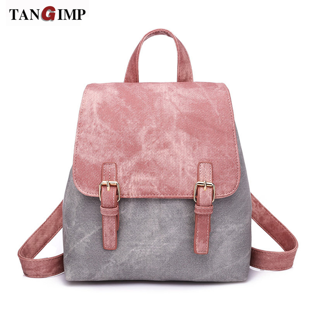 bcae261b7a4 US $22.76 |TANGIMP New Design PU Backpacks Pure Color Leather Backpack For  Women Fashion School Bag Shoulder Bag Mochilas Mujer 2018-in Backpacks from  ...