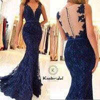 Потрясающие Элегантные Темно синие Вечерние платья Длинные Sheer сзади с кружевной аппликацией платье для выпускного вечера русалка вечерни
