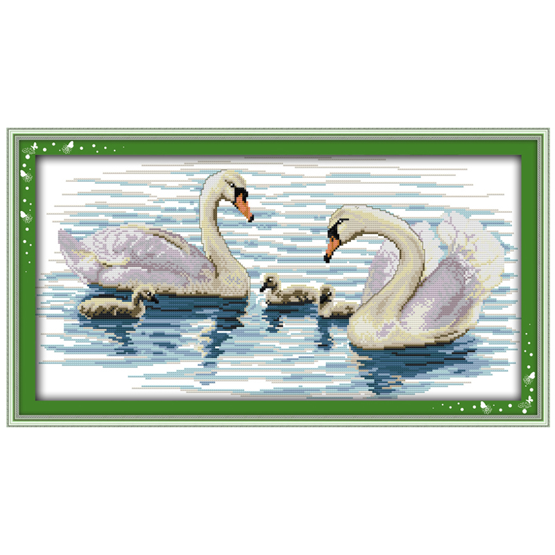 White Swan(1) Patterns Counted Cross Stitch DIY 11CT 14CT Cross Stitch Sets Animals Cross-stitch Kits Embroidery Needlework