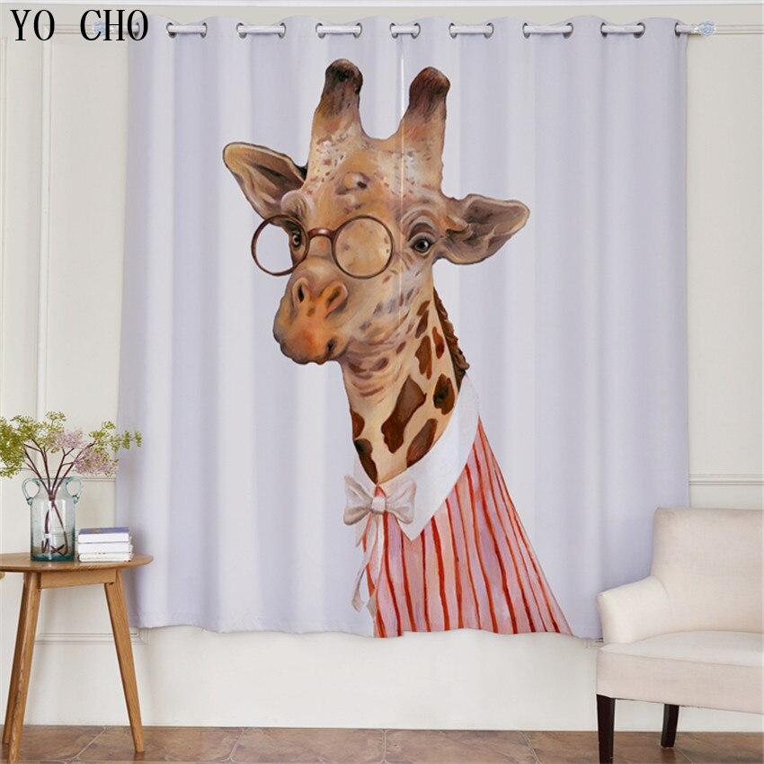 YO CHO Nuovo Prodotto 3d tende blackout Zebra Animale rideaux cervo ragazzi tende per bambini che vivono room135 * 245 cm 2 PZ gordijnen - 5