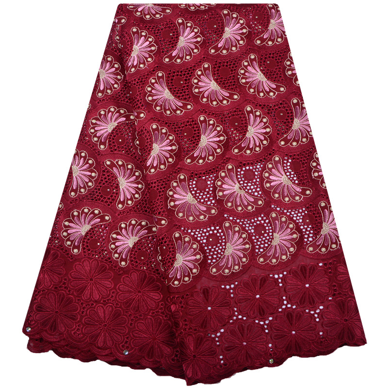 Wine Red Nigerian Lace fabrics 2018 African Swiss Voile Lace High Quality Swiss Voile Lace in