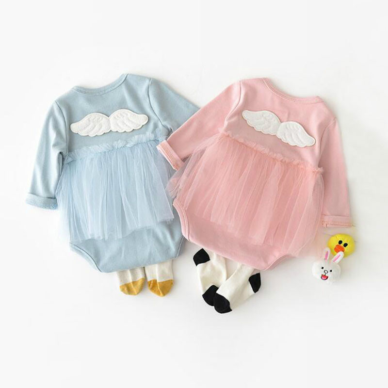Newborn Baby Girls Clothes Princess Cotton Long Sleeve Spring Autumn Baby Body Suit Infant Clothing Angel Wing Baby Girl   Rompers