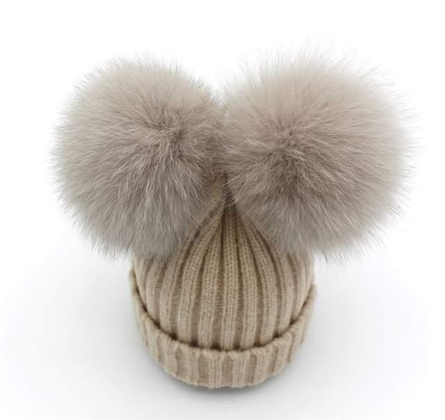 27d7872ebbd Lanxxy Real Fox Fur Pompom Hat Women Girls Winter Wool Hats for Women Cute  Two Pom