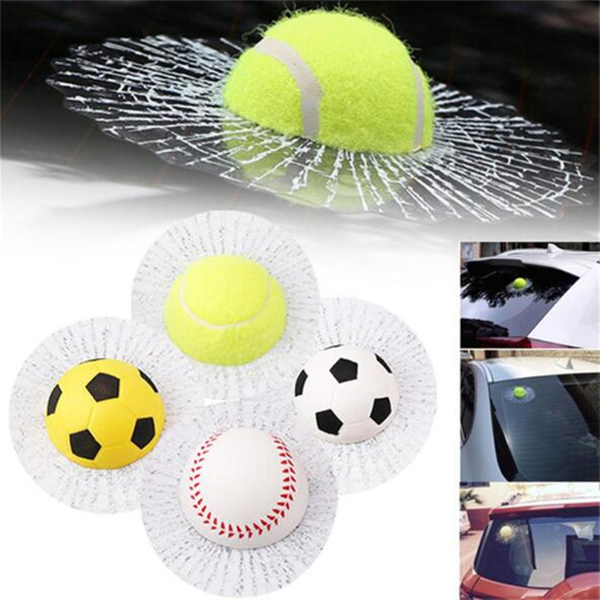 Creative Car Window Sticker Auto Decals 3d Car Stickers Baseball Tennis Football Accessories Ball Hits Car Body Styling Funny