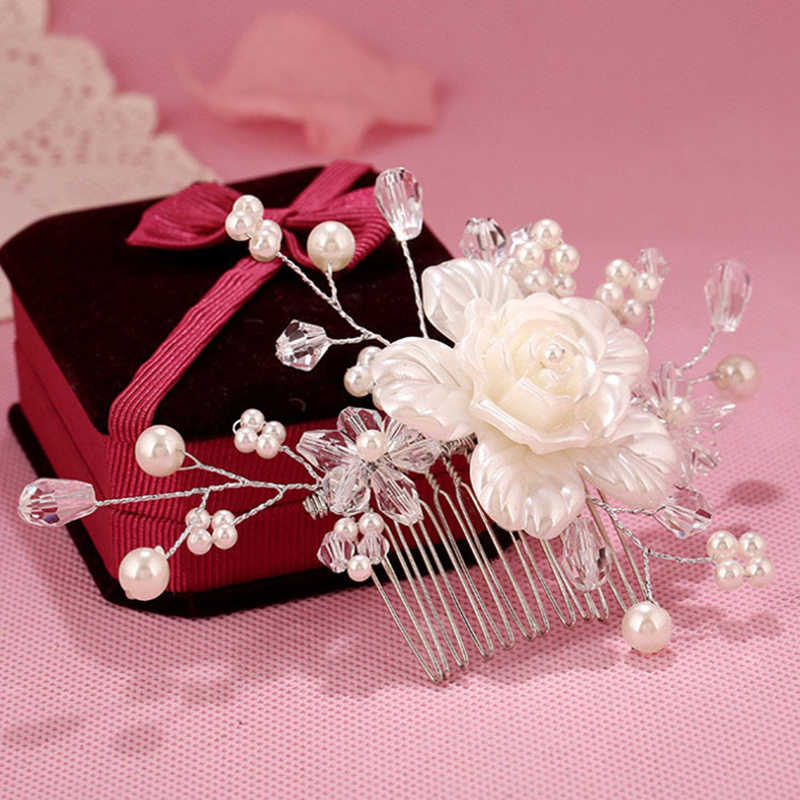 Fashion Korean Women Hair Comb Bride Wedding Hair Clip Handmade Flowers Beads Decoration Ladies Hairs Accessories