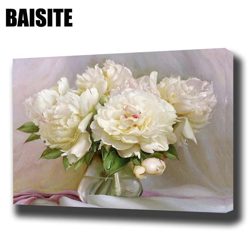 BAISITE DIY Keretes olajfestmény számok szerint Virágok Képek Vászonfestés nappali falra Art Art Decor E774