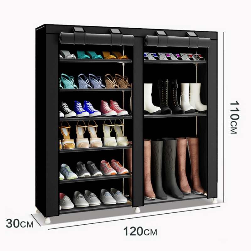 Image 2 - 43.3 inch 7 layer 9 grid Non woven fabrics large shoe rack organizer removable shoe storage for home furniture shoe cabinet-in Shoe Cabinets from Furniture