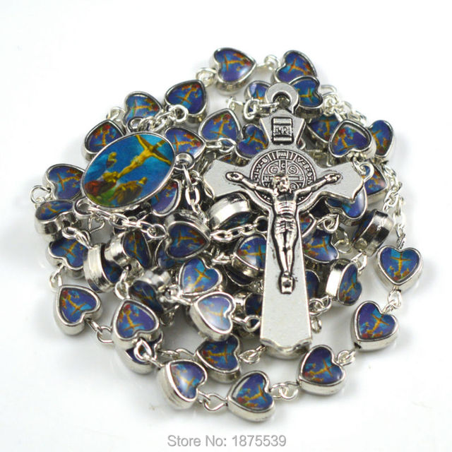 Fashion catholic rosary with picture crucifixion