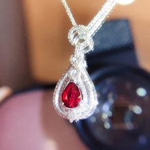 Fine Jewelry Pure 18 K Gold AU750 G18K Natural 100% Red Ruby 0.59ct Pendant Gold Diamond Pendant Gemstone Necklaces for Women(China)