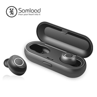 Samload Bluetooth 5.0 Binaural calls Earphones Sport stereo music ear buds with charging box mic For Smart Phone Fitness Headset