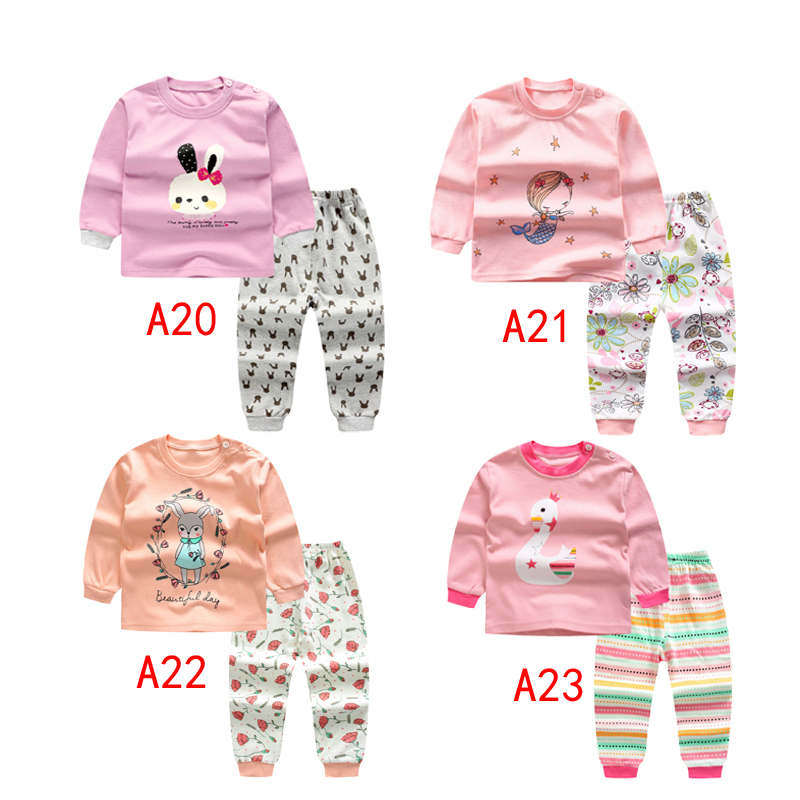 pink pyjamas   set   for little girl o-neck cotton long sleeves shirt+pants for girl