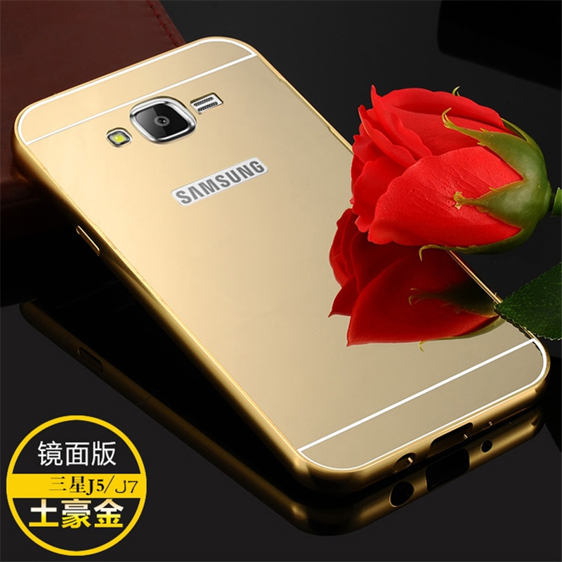 Luxury Gold Plating Aluminum Frame + Acrylic Hybird Mirror Case For Samsung Galaxy J7 J700M J700H Phone Back Cover