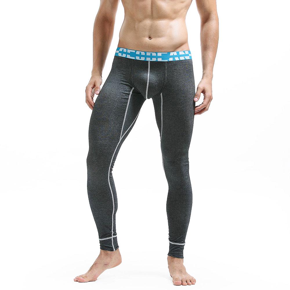 Men Long Johns Men Hot Thin Elastic Line Pants Male Fashion Cotton Sexy Warm Long Johns For Underpants Legging Tight Winter