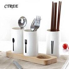 CTREE 1 комплект белая емкость для палочек для еды полка для хранения посуды дубовая основа сушилка лопата ложка нож коробка для вилок кухня хранения C668