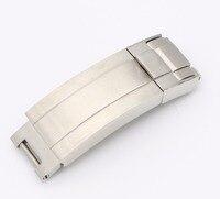 CARLYWET 9mm x 9mm Uhr Band Schnalle Glide Flip Lock Faltschließe Silber Gebürstet 316L Solide Metall Edelstahl stahl-in Uhrenbänder aus Uhren bei