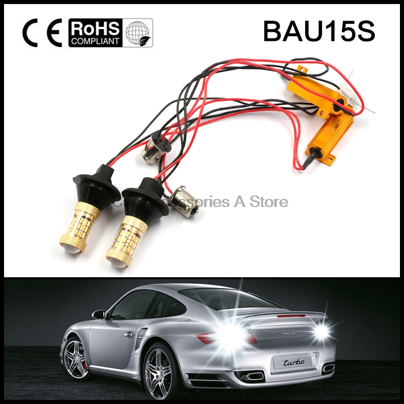 New 2pcs Dual Color Switchback bau15s Single Filament LED DRL Turn Signal Light Kit 54 LED 4014 white and amber 2pcs high power bau15s 1156b dual color bi color switchback led lights drl turn signal light kit for front dual function drl