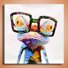 oil Painting Glasses frog print canvas painting Photo print painting Prints Wall Pictures for living Room Picture AN-103P