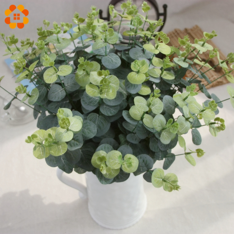 1Branch Eucalyptus Artifical Grass Leaves Plastic Green Plants Fake Leaves DIY Home Wedding Decoration Artificial Plants