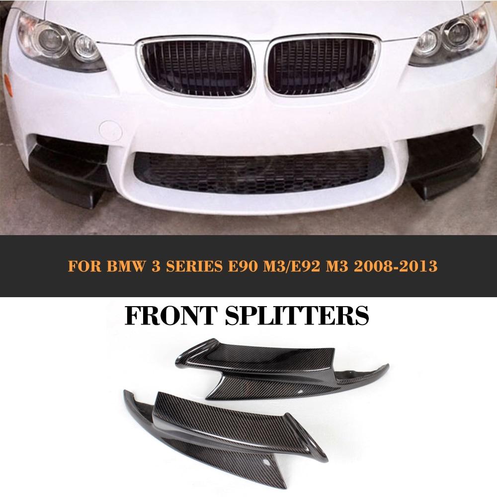 3 Series Carbon Fiber Car Front Splitters Apron lip spoiler For BMW E90 Sedan E92 Coupe E93 Convertible M3 08-14 olotdi carbon fiber front lip spoiler gts style front bumper for bmw e92 e93 m3 bumper car styling accessories factory