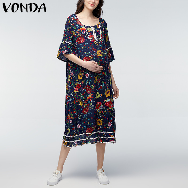 VONDA Pregnancy Clothings 2018 Pregnant Women Casual Loose Mid-calf Dress 3/4 Sleeve Retro Floral Printed Maternity Vestidos