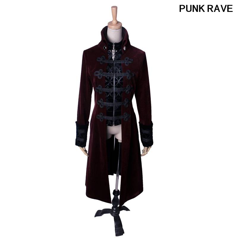 Streampunk Gothic embroidery Metal zipper Womens slim long Jacket Fashion Black Military Cosplay outfit Coat punk rave Y 401