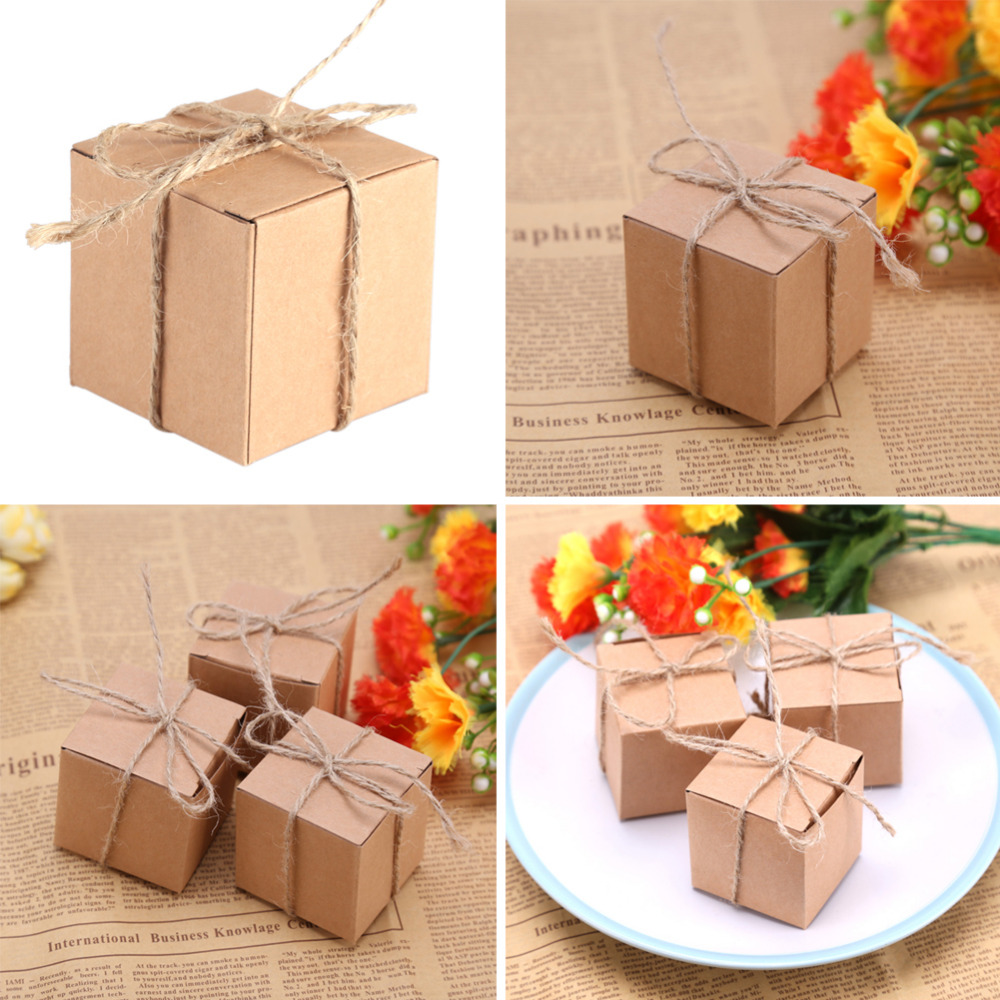 50pcs Gift Box Rustic Wedding Decoration Baby Shower Candy Packaging Cartons Chocolate Party Gifts For Guests In Bags Wring Supplies