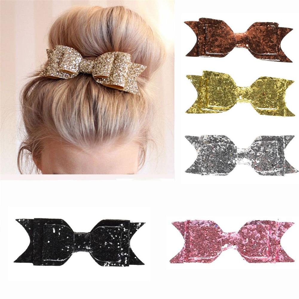 Hair Clip Women Baby Girl 12CM Big Glitter Hair Bow Kids Hairpins Hair Clip For Children Hair Accessories Toddler Headwear