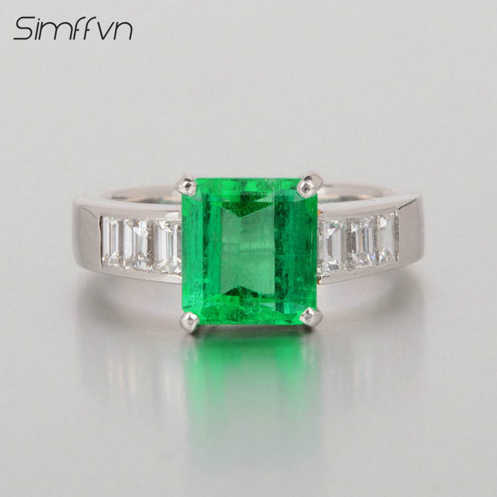 Simffvn Classic Style 2.23Ct Emerald Gemstone Ring With Natural Diamond Stamped By Pt900 Platinum Anniversary Ring For Women