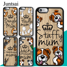 Juntsai Staffy Beagle Poodle Rottweiler Mum Dog Phone Case For iPhone 8 7 6 6s Plus X XR XS MAX 5s SE Full Back Cover Shell