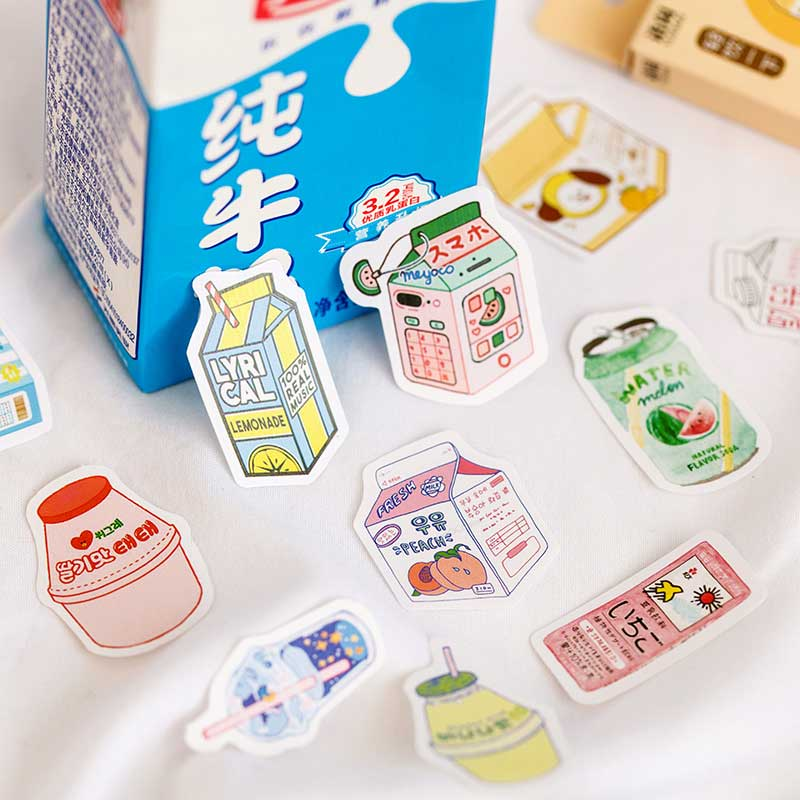 50 Pcss/box Summer Plant Lactic Milk Drink Stickers Paper Adhesive Sticker Scrapbooking Decoration Diary Photos Album Stationery