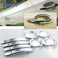smRKE For VW Santana 13 16 Car Chrome Door Bowl Cover Stickers Interior Decoration Sequins Brand Auto Accessories Styling