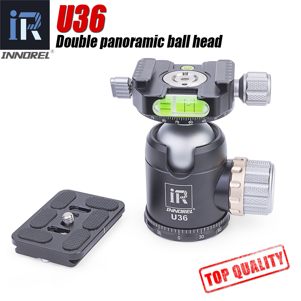 INNOREL U36 panoramic tripod & monopod ball head with quick release plate for 720 degree shooting bearing 20KG for Nikon Canon-in Tripod Heads from Consumer Electronics