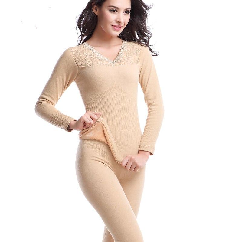 Inverno mais grossa de veludo roupa interior térmica ceroulas mulheres de  pijama Set Top calças ternos de lã roupa interior térmica em Long Johns de  Roupa ... a66f0b54e72d6