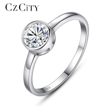CZCITY Brand Single One Carat Zircon Stone Simple Female Finger Ring 925 Sterling Silver Women Jewelry Wedding Engagement Rings