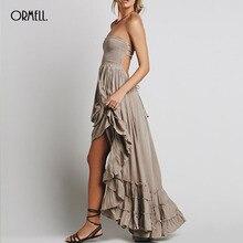 ORMELL New Fashion Ladies' Elegant Maxi Dress Vintage Long Beach Dress Suspender Sleeveless Backless Slim Brand Design