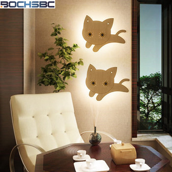 European Style Wall Lamp Bedroom Bedside Light Minimalist Modern Creative Led Wall Light Children Room Wood Cats Wall Lamp