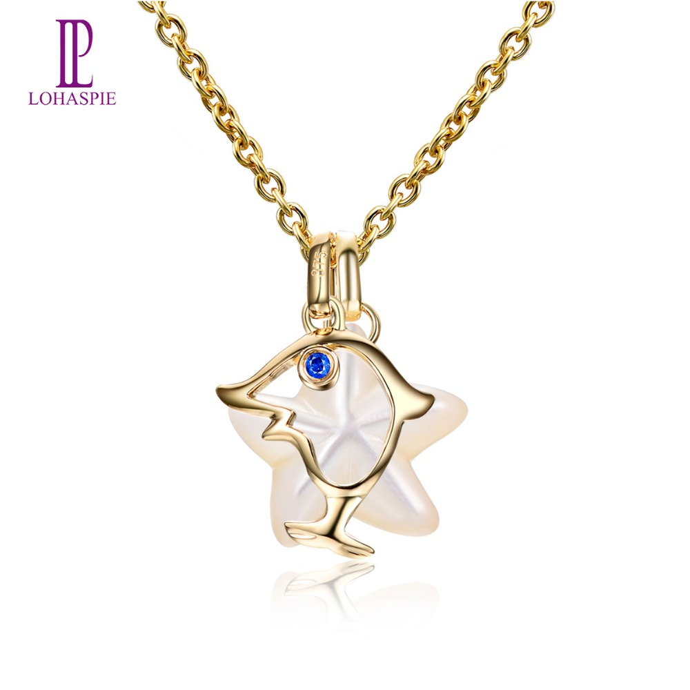 Lohaspie Ocean Party Natural Sapphire Pendant Solid 9k Yellow Gold Mother of Pearl Star Fish Fine Animal Stone Jewelry Gift New lohaspie ocean party natural sapphire pendant solid 9k yellow gold mother of pearl starfish fine fashion stone pearl jewelry new