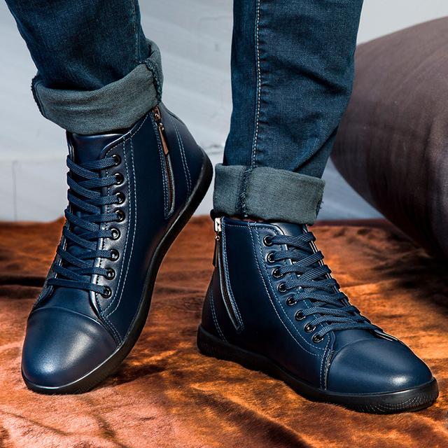 Tamaño 37-47 zapatos de Los Hombres botas Primavera Otoño Invierno raza humana calientes botas de cuero genuino más el tamaño de invierno cómodo alta calidad