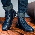 Tamanho 37-47 Homens sapatos botas Primavera Outono Inverno raça humana de inverno quente botas de couro genuíno plus size confortável alta qualidade